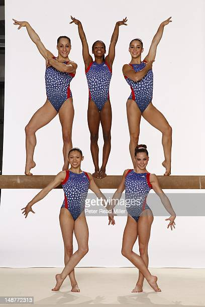 Summer Games Preview Portrait of Team USA Jordyn Wieber Gabby Douglas Aly Raisman McKayla Maroney and Kyla Ross during photo shoot at USA Women's...