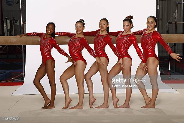 Summer Games Preview Portrait of Team USA Kyla Ross Gabby Douglas Jordyn Wieber McKayla Maroney and Aly Raisman during photo shoot at USA Women's...