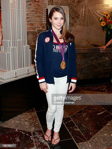 Gymnastics Team gold medalist McKayla Maroney lights The Empire State Building on August 14, 2012 in New York City.
