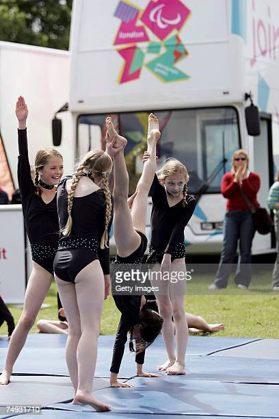 Gymnastics team perform during the London 2012 Roadshow at the Royal Norfolk Showground on June 27 2007 in Norwich England