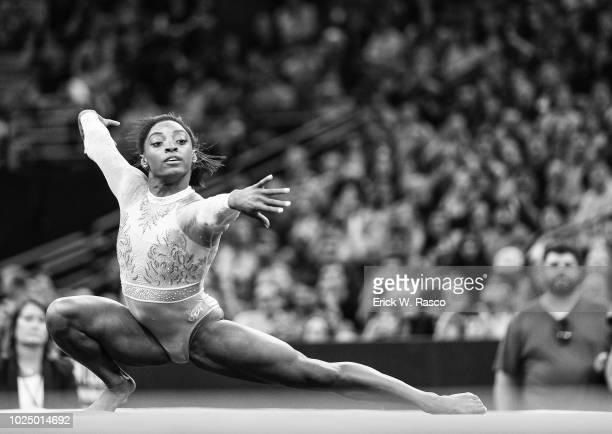 US National Championships Simone Biles in action during Senior Women's Floor Exercise at TD Garden Women's Day 2 Boston MA CREDIT Erick W Rasco