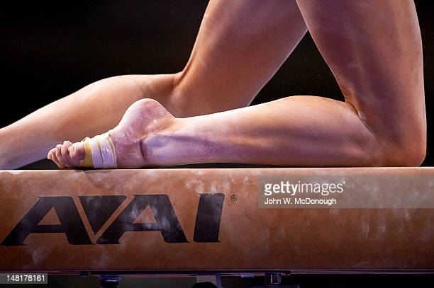 US Olympic Trials Closeup of feet on balance beam during Women's Competition at HP Pavilion Equipment San Jose CA CREDIT John W McDonough