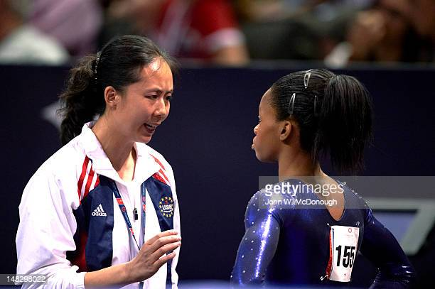 US Olympic Trials Closeup of Gabrielle Douglas with coach during Women's competition at HP Pavillion San Jose CA CREDIT John W McDonough