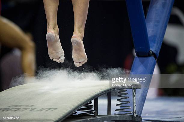 US Olympic Trials Closeup view of feet on the vault during warmups before Women's Competition at the SAP Center San Jose CA CREDIT Donald Miralle