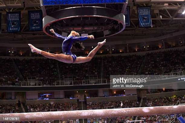 US Olympic Trials Gabrielle Douglas in action on balance beam during Women's competition at HP Pavilion San Jose CA CREDIT John W McDonough