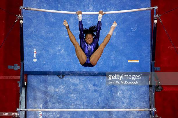 US Olympic Trials Gabrielle Douglas in action on uneven bars during Women's competition at HP Pavilion San Jose CA CREDIT John W McDonough
