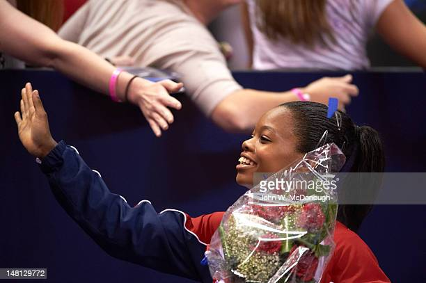 US Olympic Trials Gabrielle Douglas victorious after Women's competition at HP Pavilion San Jose CA CREDIT John W McDonough