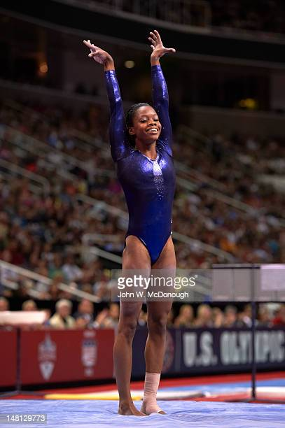 US Olympic Trials Gabrielle Douglas victorious during Women's competition at HP Pavilion San Jose CA CREDIT John W McDonough