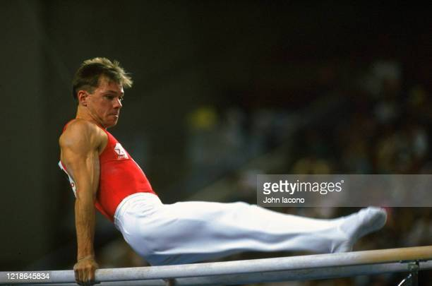 US Olympic Trials Kurt Thomas in action on parallel bars at Baltimore Arena Baltimore MD CREDIT John Iacono