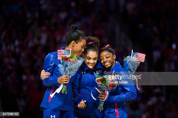 Olympic Trials: View of Gabrielle Douglas, Laurie Hernandez, and Simone Biles hugging during presentation ceremony at the SAP Center. San Jose, CA...