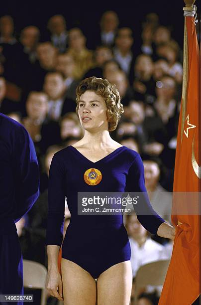 USAUSSR Dual Gymnastic Match Soviet Union Larisa Latynina during exhibition at Recreation Building on Penn State University campus University Park PA...