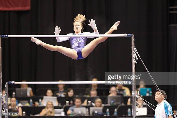 Visa Championships Mackenzie Caquatto in action during uneven bars event Senior Women's Competition Final Day at Xcel Energy Center St Paul MN CREDIT...