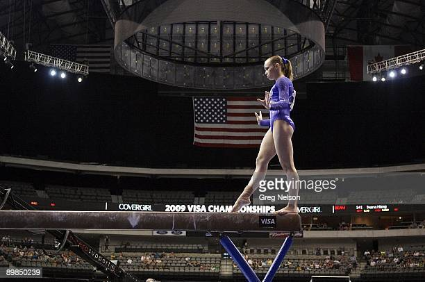 Visa Championships: Rebecca Bross in action during Women's Balance Beam at America Airlines Center. Dallas, TX 8/15/2009 CREDIT: Greg Nelson