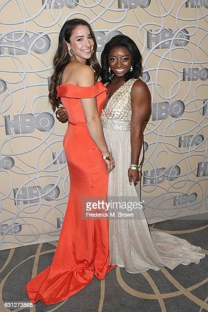 Gymnasts Aly Raisman and Simone Biles attend HBO's Official Golden Globe Awards After Party at Circa 55 Restaurant on January 8 2017 in Beverly Hills...