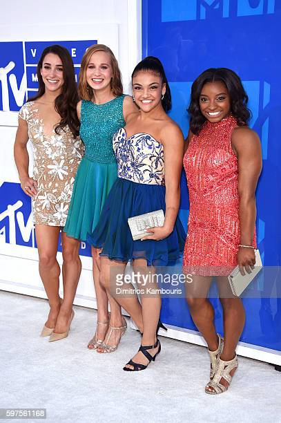 Gymnasts Aly Raisman Madison Kocian Laurie Hernandez and Simone Biles attend the 2016 MTV Video Music Awards at Madison Square Garden on August 28...