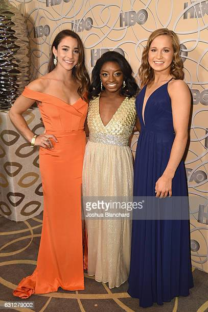 Gymnasts Aly Raisman Simone Biles and Madison Kocian attend HBO's Official Golden Globe Awards After Party at Circa 55 Restaurant on January 8 2017...
