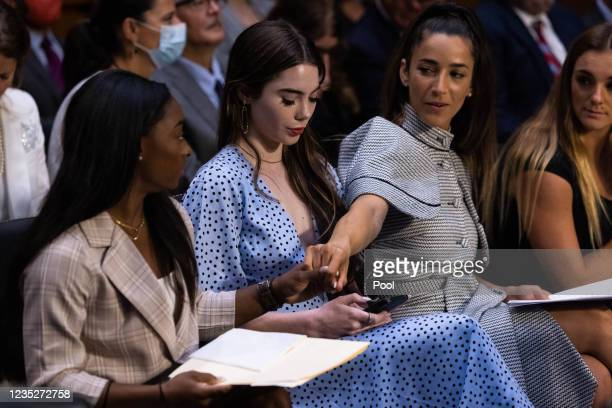 Gymnasts from left, Simone Biles, McKayla Maroney, Aly Raisman and Maggie Nichols, arrive to testify during a Senate Judiciary hearing about the...