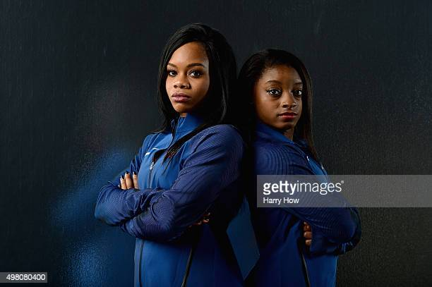Gymnasts Gabby Douglas and Simone Biles pose for a portrait at the USOC Rio Olympics Shoot at Quixote Studios on November 20 2015 in Los Angeles...
