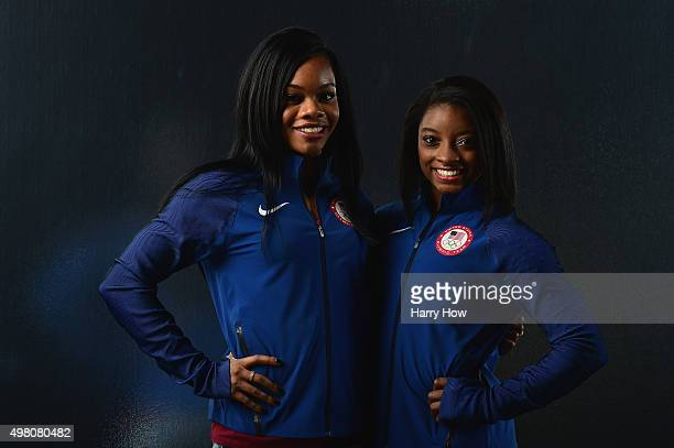 Gymnasts Gabby Douglas and Simone Biles pose for a portrait at the USOC Rio Olympics Shoot at Quixote Studios on November 20, 2015 in Los Angeles,...