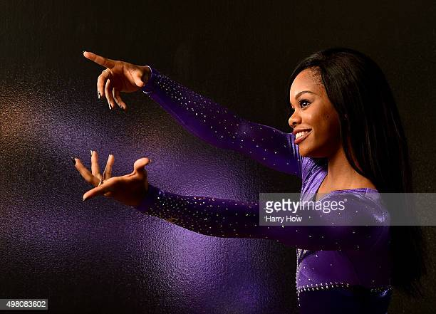 Gymnasts Gabby Douglas poses for a portrait at the USOC Rio Olympics Shoot at Quixote Studios on November 20, 2015 in Los Angeles, California.