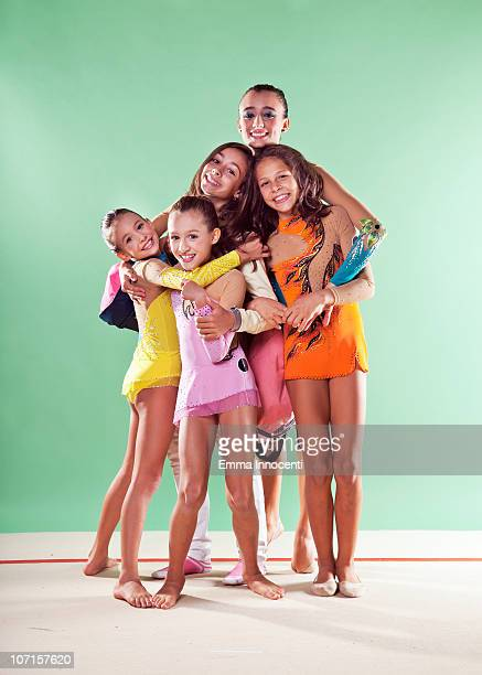 gymnasts, group, smiling, training