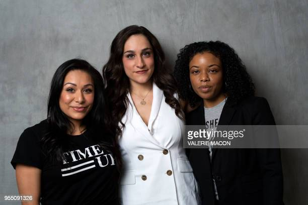 Gymnasts Jeanette Antolin Jordyn Wieber and softball player Tiffany Lopez attend the United State of Women Summit on May 5 in Los Angeles California...