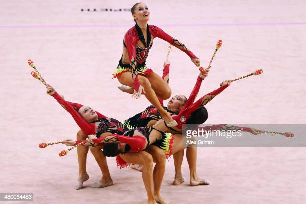 Gymnasts of the team of Azerbaijan perform during the group allarround competition of the GAZPROM World Cup Rhythmic Gymnastics at Porsche Arena on...