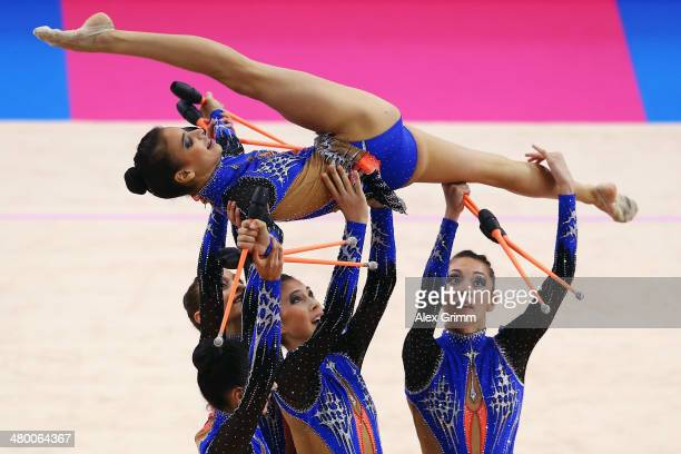 Gymnasts of the team of Israel perform during the group allarround competition of the GAZPROM World Cup Rhythmic Gymnastics at Porsche Arena on March...