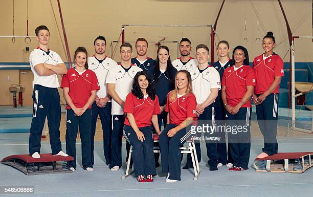 Gymnasts selected to represent Team GB at the Rio 2016 Olympic Games pose for a team photograph at Lilleshall National Sports Centre on July 12 2016...