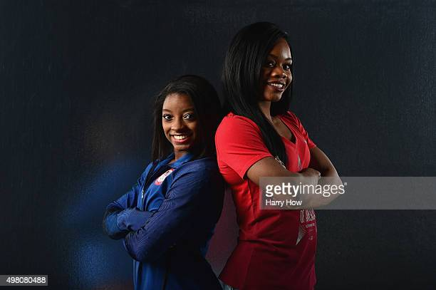 Gymnasts Simone Biles and Gabby Douglas pose for a portrait at the USOC Rio Olympics Shoot at Quixote Studios on November 20, 2015 in Los Angeles,...