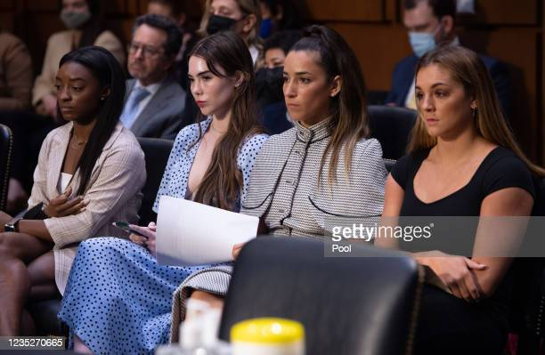 Gymnasts Simone Biles, McKayla Maroney, Aly Raisman and Maggie Nichols arrive to testify during a Senate Judiciary hearing about the Inspector...