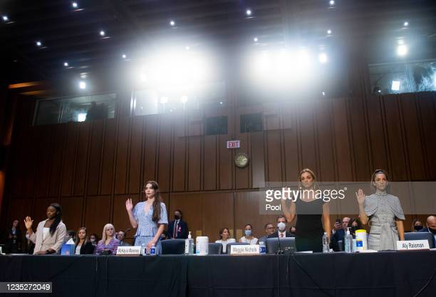 Gymnasts Simone Biles, McKayla Maroney, Maggie Nichols and Aly Raisman are sworn in to testify during a Senate Judiciary hearing about the Inspector...