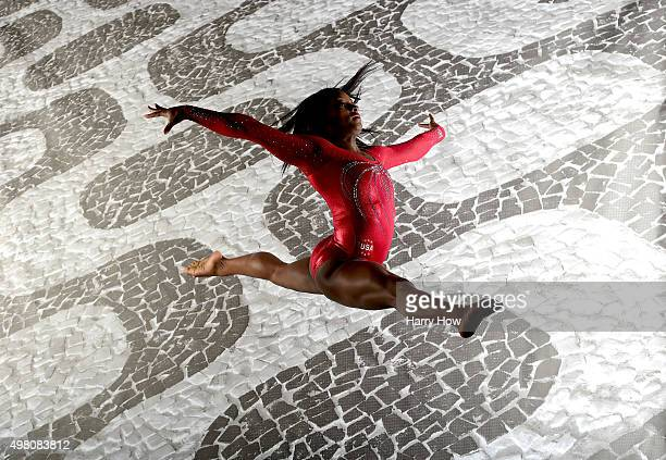 Gymnasts Simone Biles poses for a portrait at the USOC Rio Olympics Shoot at Quixote Studios on November 20, 2015 in Los Angeles, California.