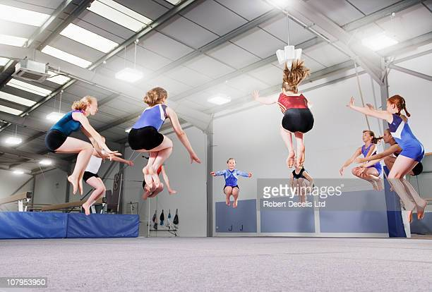 Gymnasts warming up