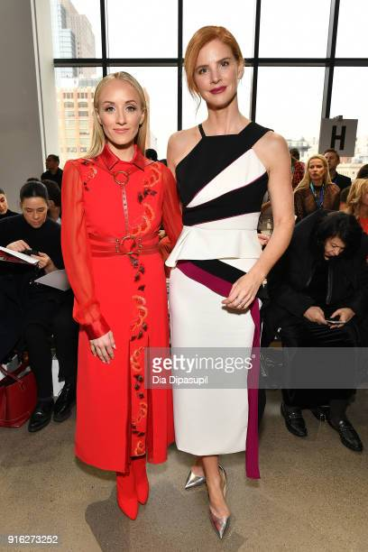 Gymnasty Nastia Liukin and actress Sarah Rafferty attend the Bibhu Mohapatra front row during New York Fashion Week The Shows at Gallery II at Spring...