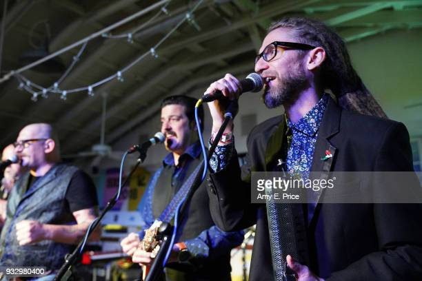 Gyorgy Ferenczi Pinter Zsolt and Adam Apati of Rackajam performs onstage at Sounds from Hungary during SXSW at Palm Door on March 16 2018 in Austin...