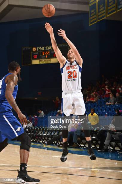 Gyorgy Goloman of the Westchester Knicks shoots the ball during an NBA GLeague game against the Delaware Blue Coats at the Bob Carpenter Center in...