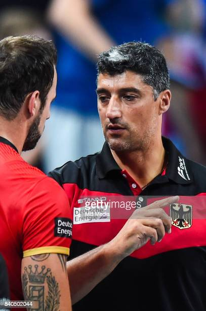Gyorgy Grozer of Germany and Germany head coach Andrea Giani during the European Men's Volleyball Championships 2017 match between Czech Republic and...