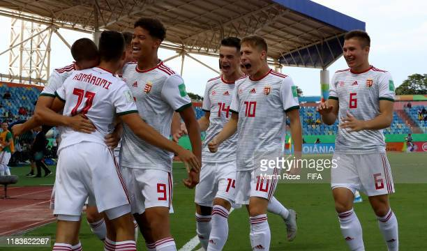 Gyorgy Komaromi of Hungary celebrate with his team mates after he scores the opening goal during the FIFA U17 World Cup Brazil 2019 Group B match...