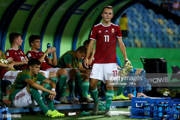 Gyorgy Komaromi of Hungary reacts after the FIFA U17 World Cup Brazil 2019 Group B match between Hungary and Ecuador at Estadio Olimpico de Goias on...