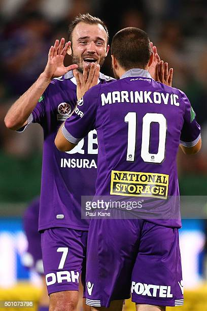 Gyorgy Sandor and Nebojsa Marinkovic of the Glory celebrate after winning the round 10 ALeague match between the Perth Glory and the Central Coast...