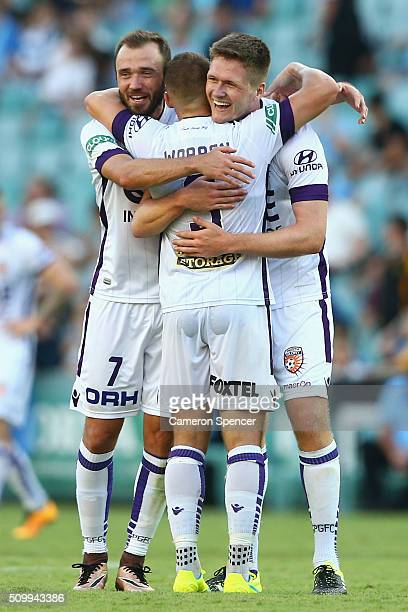 Gyorgy Sandor Marc Warren and Alexander Grant of the Glory celebrate winning the round 19 ALeague match between Sydney FC and the Perth Glory at...