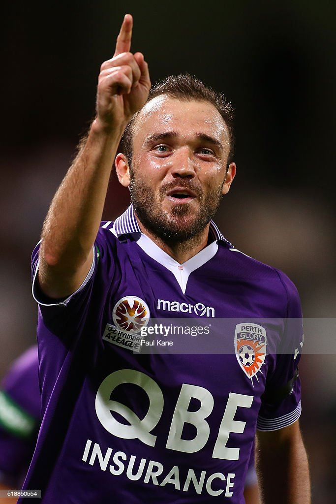Gyorgy Sandor of the Glory celebrates after scoring during the round 26 A-League match between the Perth Glory and Melbourne City FC at nib Stadium on April 3, 2016 in Perth, Australia.