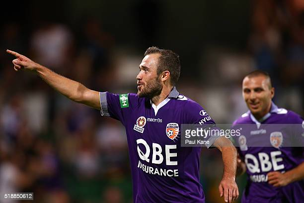 Gyorgy Sandor of the Glory celebrates after scoring during the round 26 ALeague match between the Perth Glory and Melbourne City FC at nib Stadium on...