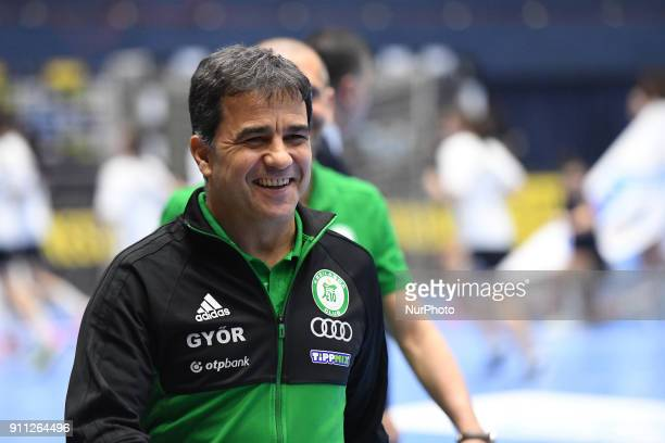 Gyor's coach Martin Ambros during EHF Women's Champions League Main Round match between CSM Bucuresti and Gyori Audi ETO KC at Polivalenta Hall in...