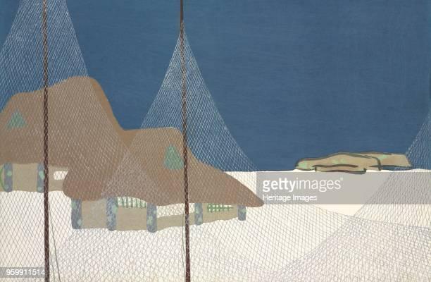 Gyoson fromMomoyogusa The World of Things Vol I pub1909 colour block woodcut A Fishing Village