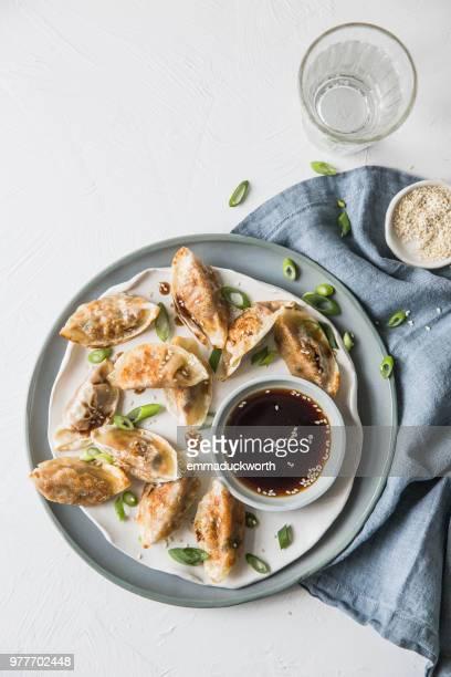 Gyoza dumplings with dipping sauce
