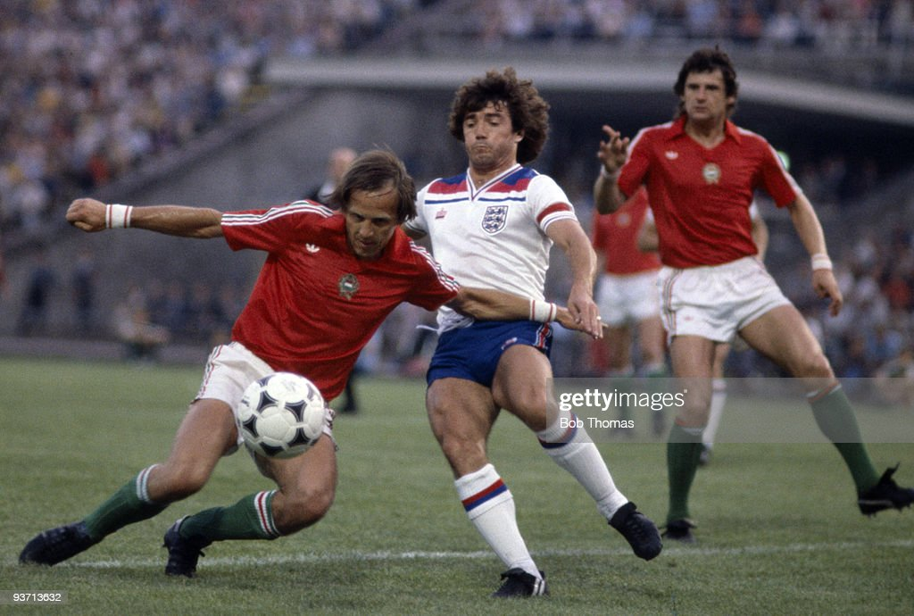 Gyozo Martos of Hungary (left) clears from Kevin Keegan of England (centre) during the Hungary v England World Cup qualifying match held in Budapest, Hungary on the 6th of June 1981. England won 3-1. (Photo by Bob Thomas/Getty Images).