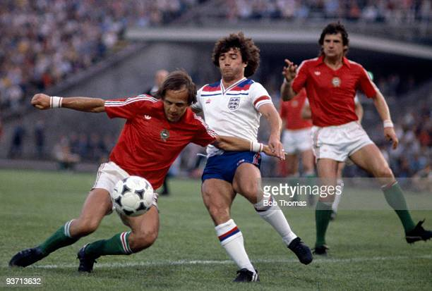 Gyozo Martos of Hungary clears from Kevin Keegan of England during the Hungary v England World Cup qualifying match held in Budapest Hungary on the...