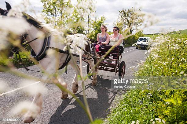 Gypsey's travelling towards the Appleby Horse Fair, near Kirkby Lonsdale, Cumbria, UK.